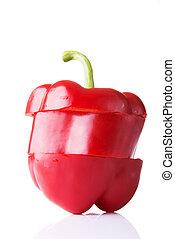 afgesnijdenene, paprika, rood