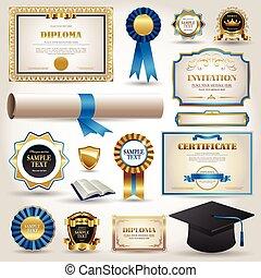 afgestudeerd, en, certificaat, diploma, communie, vrijstaand, op wit