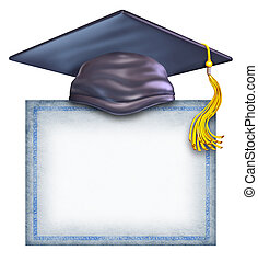 afgestudeerd, hoedje, met, een, leeg, diploma