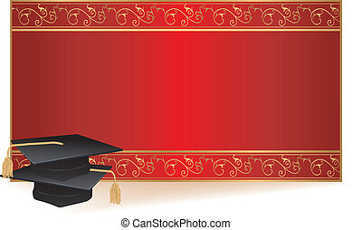 afgestudeerd, kaart, uitnodiging