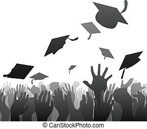 afgestudeerd, menigte, afgestudeerdeen