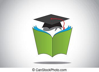 afgestudeerd, n, boek, student, hoedje, dag