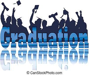 afgestudeerd, viering, in, silhouette