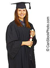 afgestudeerd, vrijstaand, student, vrolijke