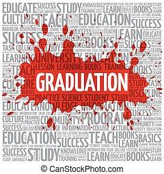afgestudeerd, woord, wolk, opleiding, concept