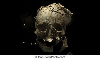 afgevuurde, het exploderen, -, schedel, pistoolkogel