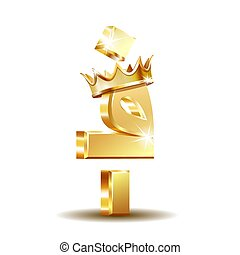 Afghan afghani currency symbol with golden crown, vector illustration on white background