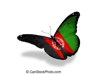 Afghani flag butterfly flying, isolated on white background