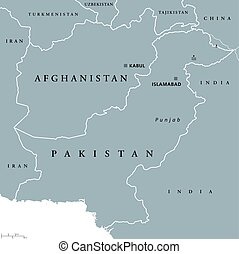 Afghanistan and Pakistan political map with capitals Kabul...