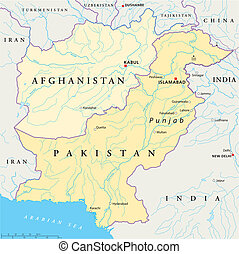 Afghanistan and Pakistan Political - Political map of...