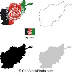 Afghanistan country black silhouette and with flag on background