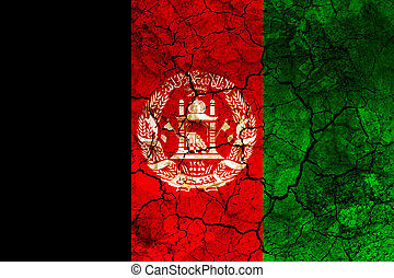afghanistan country flag painted on a cracked grungy wall