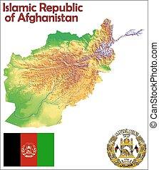 afghanistan, fahne, landkarte, mantel