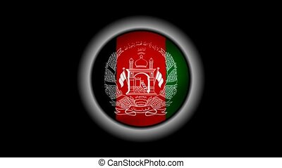 Afghanistan flag button isolated on black