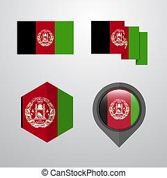 Afghanistan flag design set vector
