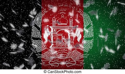Afghanistan flag falling snow loopable, New Year and Christmas background, loop.