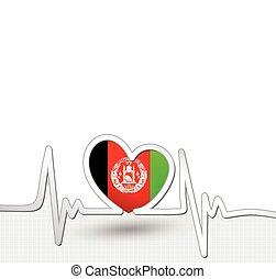 Afghanistan flag heart and heartbeat line