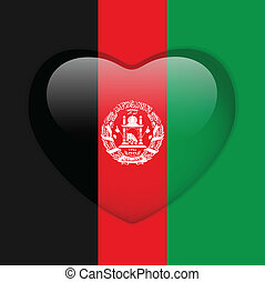 Afghanistan Flag Heart Glossy Button