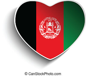 Afghanistan Flag Heart Paper Sticker