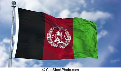 Afghanistan Flag in a Blue Sky. Use this clip loud