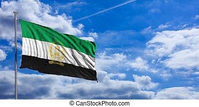 Afghanistan flag on a blue sky background. 3d illustration