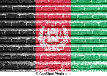 Afghanistan flag on an old brick wall