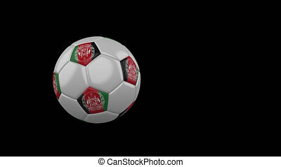 Afghanistan flag on a flying and rotating soccer ball on a transparent background, 4k prores footage with alpha channel