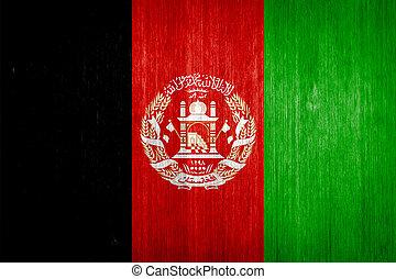 Afghanistan Flag on wood background