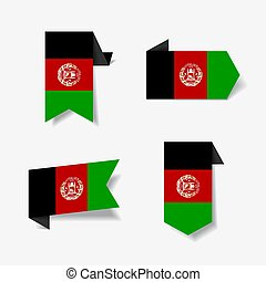 Afghanistan flag stickers and labels. Vector illustration.