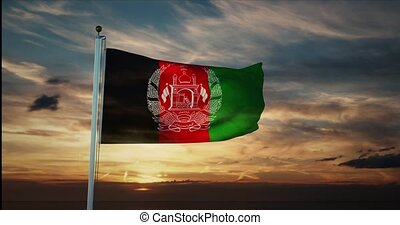 Afghanistan flag waving represents the Islamic Republic of Afghanistani people. Celebration of independence and patriotism or political state - 4k