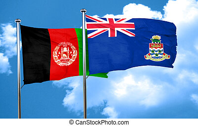 Afghanistan flag with Cayman islands flag, 3D rendering