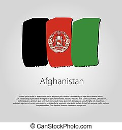 Afghanistan Flag with colored hand drawn lines in Vector Format