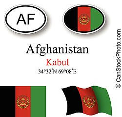 afghanistan flags and icons set