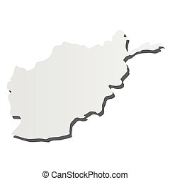 Afghanistan - grey 3d-like silhouette map of country area with dropped shadow. Simple flat vector illustration.