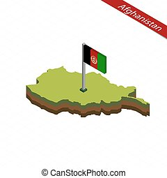 Afghanistan Isometric map and flag. Vector Illustration.