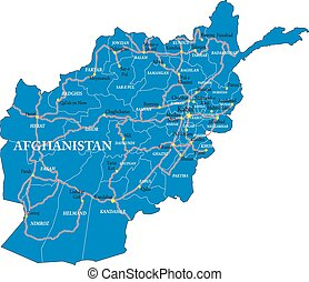 Highly detailed vector map of Afghanistan with main regions ,cities, and roads.