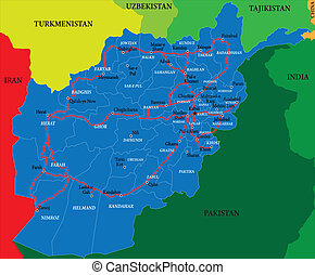 Afghanistan map - Highly detailed vector map of Afghanistan...