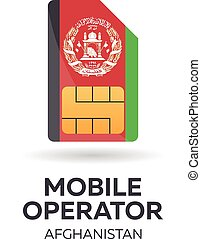 Afghanistan mobile operator. SIM card with flag. Vector illustration.