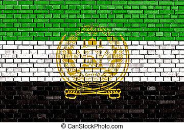 afghanistan, muur, oud, vlag, geverfde, baksteen