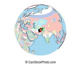 Afghanistan on globe isolated