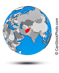 Afghanistan on political globe isolated