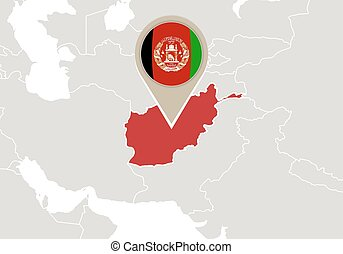 Zoom on afghanistan map and flag world map clipart vector search afghanistan on world map gumiabroncs Image collections