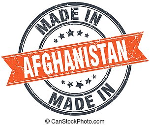 Afghanistan orange grunge ribbon stamp on white