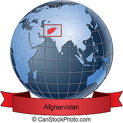 Afghanistan, position on the globe Vector version with separate layers for globe, grid, land, borders, state, frame; fully editable