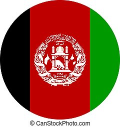 Afghanistan round flag vector illustration. Perfect for Stickers, icons, symbols, signs, glossy etc.