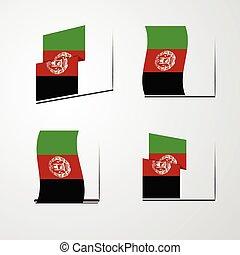 Afghanistan waving Flag set design vector