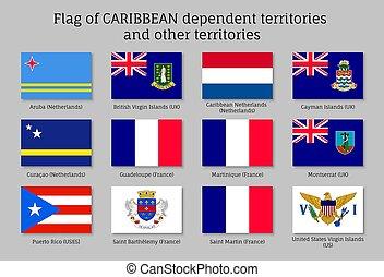 afhankelijk, vlaggen, de caraïben, gebieden