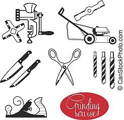 afiado, ferramentas, engrenagem, mão