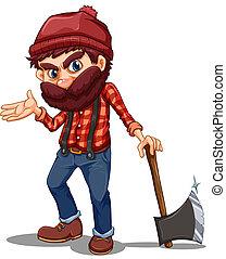 afiado, lumberjack, segurando, machado