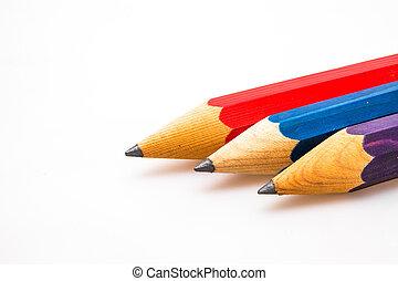 afiado, três, lápis